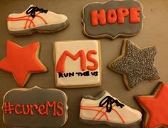 MS Run the US Charity Royal Icing Sugar Cookies by @cookiesbykatewi #charity #MS #MSRuntheUS #hope #running #cookiedecoration