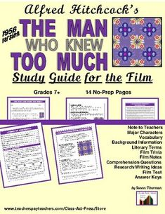 The Man Who Knew Too Much: Study Guide for the Alfred Hitchcock Film - My best education list Learning Resources, Teacher Resources, Secondary Resources, Literary Terms, Film Studies, History Classroom, Hitchcock Film, Alfred Hitchcock, Teacher Notes