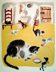 La Ferme du Pere Castor - cats 1937 | Illustrations by Helene Guertik