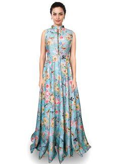 Simplistic Blue Digital Print Work Satin Designer Salwar Suit