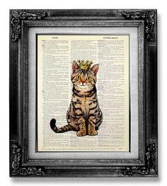 Cat Decor CAT Painting TABBY Cat Wall Art Cat Lover by GoGoBookart, $10.00