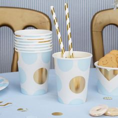 Blue /& Gold Dots Baby Shower Christening  Party X 8 Paper Party Cups