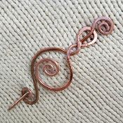 Twisted & Spiraled Copper Wire Shawl Pin from Fiddle Knits.  I am using this on my You & I shawl!