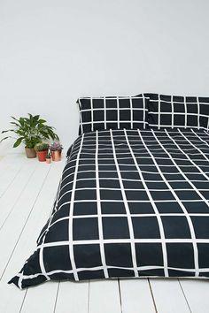 Parure de lit motif quadrillage noire