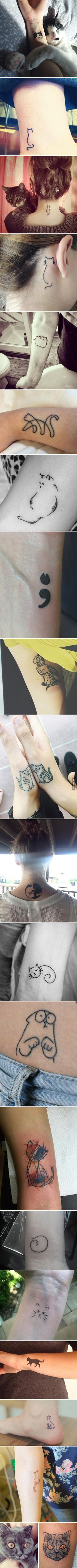 "20 Minimalistic ""Cattoos"" For Cat Lovers. I'm not into tattoos, but these designs are really cute."