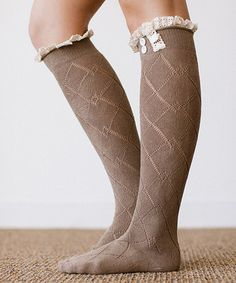 Look at this #zulilyfind! Taupe Lace Trim Button Knee-High Socks #zulilyfinds