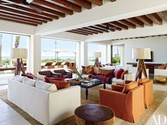 Cindy Crawford and Rande Gerber and George Clooney's Side-By-Side Mexican Villas Photos Architectural Digest Architectural Digest, George Clooney House, Celebrity Houses, Real Estate Houses, Ceiling Beams, Beamed Ceilings, Ceiling Fan, New Wall, Vintage Pillows