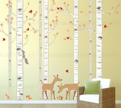 Birch Tree Decal with Deer Squirrel and Birds Wall Decal