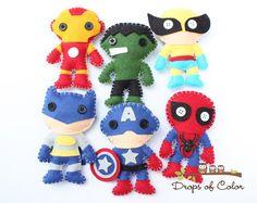 Set Felt Plush Super Heroes Ornaments - Super Heroes Plush Toys - 6 Plush Toys Spider Man, Batman, Hulk and more. - http://www.diyhomeproject.net/set-felt-plush-super-heroes-ornaments-super-heroes-plush-toys-6-plush-toys-spider-man-batman-hulk-and-more