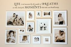 Great Gallery wall with pictures that all have the same theme.