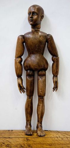 Articulated Italian Santo with solid body, magnificent face sculpting and sulphur glass eyes, c 1800