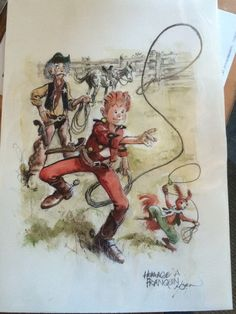 Spirou, Spip and the Count as cowboys, homage to Franquin (ill. René Follet; Copyright (c) by the artist; Spirou (c) Dupuis; photo by Dominique Léonard)