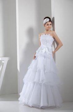 Triangle Neckline Organza Satin Wedding Dress with Appliques Organza Bridal, Wedding Dress Organza, Weeding Dress, Wedding Dress Train, Amazing Wedding Dress, Strapless Organza, Lace Wedding, Casual Wedding, Gown Wedding
