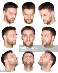 short hair man face collection from various views