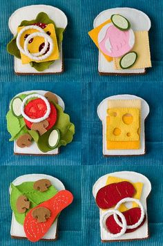 lots of cute felt food patterns: sandwiches, fruit, cupcakes, doughnuts, pasta, etc.