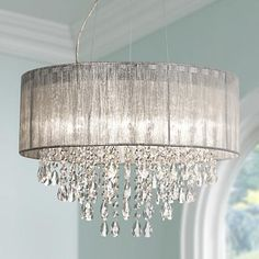 """Possini Euro Metairie 20""""W Silver Fabric Crystal Chandelier - $199.95"""