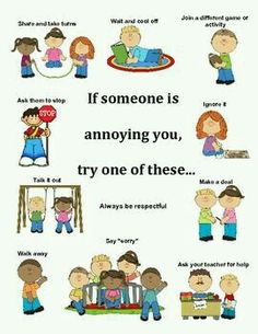 What to do when someone is annoying you/ conflict resolution poster teaching social skills, Teaching Social Skills, Social Emotional Learning, Social Skills Lessons, Teaching Kids, Teaching Manners, Social Skills Activities, Teaching Strategies, Therapy Activities, Toddler Activities