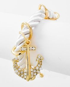 White & Gold Cord Anchor Bracelet from Bows To Toes