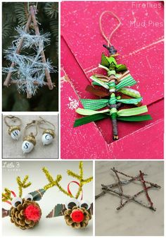 Awesome ornaments made from twigs, pinecones and acorns -- the kids will love doing these!