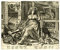 Arachne personifying textile production; she turns a spinning wheel to make a yarn; behind her a woman works at a loom; a spider web at upper right  Engraving 1570