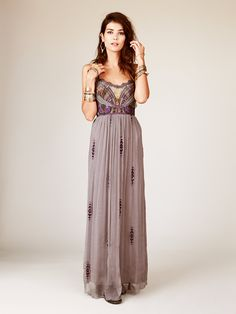 Artemis Maxi | Chiffon maxi dress with gorgeous mesh, sequin, and embroidered embellishment around the upper bodice. Fray laced trimming on upper hem of bodice and along straps. Straps
