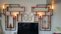 Retro aydınlatma ve ahşap raflar / steampunk lamp and shelves