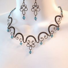 Wire Work Choker Necklace Set - Teal Bicone Crystals - Bronze Woven Wire Work - Collar Necklace