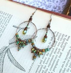 Handmade Earrings, Bohemian Dangles, Hoops, Aged Czech Picasso Glass Beads, Faceted Green Glass Tear Drop, Antique Silver and Copper