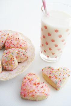 yummm, valentine's cookies and milk, sprinkled heart cookies