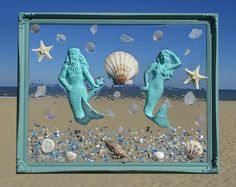 Unique beach window art by luminosities hand painted cast iron unique beach window art by luminosities hand painted cast iron mermaid in a sea of shells starfish and pale pink gems set in a wood background voltagebd Images