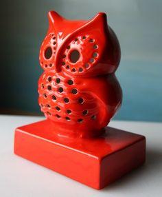 Groovy seventies ceramic owl lamp.