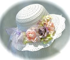 Girl's Easter Bonnet Pink & White Tea Party Hats by Marcellefinery