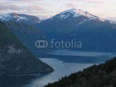 Fototapete - evening at fjord