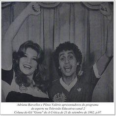 """Adriana Barcellos e Plínio Valério. Coluna do Gil """"Gente"""" do A Crítica de 21 de setembro de 1982."""