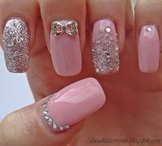 Baby Pink Bling Nails ❦