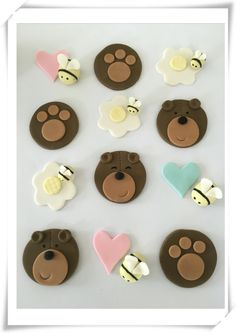 Set of 12 Teddy Bear Cupcake toppers by SugaryLand on Etsy