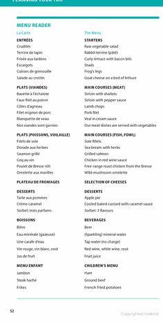 French menu cheat sheet