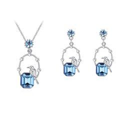 Austrian Crystal Set - Moonlight Night Bird (Sea Blue) Fine Jewelry NHKSE30158--US12.46