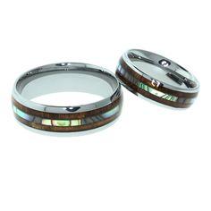 Koa Wood and Abalone Shell Double Inlay Tungsten Wedding Rings Set : Hawaii Wedding Place
