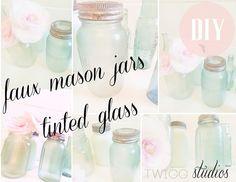 ..Twigg studios: faux mason jars (diy tnted glass)