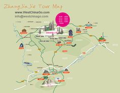zhangjiajie tour map, travel guide www.westchinago.com info@westchinago.com