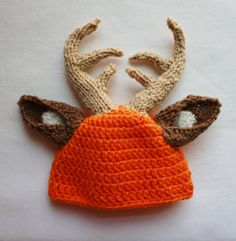 Buck hat with Hunter Orange by KnittinAroundLady on Etsy Little Babies, Little Ones, Cute Babies, Manta Polar, Camo Baby Stuff, Baby Boy Outfits, Camo Outfits, Baby Fever, Baby Hats