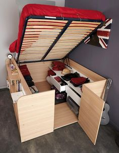 Decorate your room in a new style with murphy bed plans Diy Storage Bed, Tiny House Storage, Bed Frame With Storage, Storage Ideas, Bedroom Storage, Extra Storage, Creative Storage, Storage Solutions, Bedding Storage
