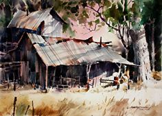 Another Man's Treasure by artist Sterling Edwards. #watercolor painting found on the FASO Daily Art Show - http://dailyartshow.faso.com