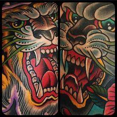 Samuele Briganti based in Orbetello (GR) - tiger panther old school tattoo