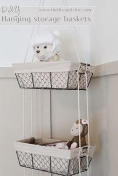 DIY Hanging Storage Baskets -all you need are baskets and some rope! Great idea for storage in little one's room. Toy Storage Solutions, Diy Toy Storage, Hanging Storage, Diy Hanging, Storage Baskets, Storage Ideas, Shower Storage, Home Goods Decor, Diy Home Decor