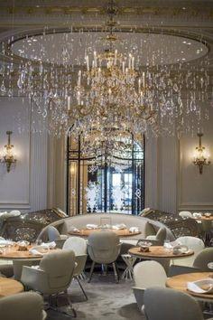 Fabulous chandelier. Restaurant Plaza Athénée. Chef Alain Ducasse. Paris  www.mirabellointeriors.com