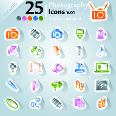 Free Icons stickers vector 08