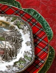 Plaid is my go-to for Christmas. I like to keep it simple, and that's what Tartan Plaid gives me. The Tartan Plaid fabrics bring an ins. Primitive Christmas, Tartan Christmas, Christmas China, Christmas Dishes, Plaid Christmas, Country Christmas, All Things Christmas, Vintage Christmas, Christmas Holidays