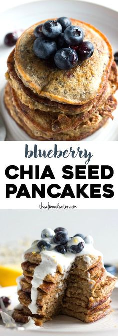Blueberry chia seed pancakes a simple pancake recipe with healthy swaps and chia seeds for added fiber! thealmondeater com oats banana peanut butter honey blueberries walnuts chia seeds cinnamon rice milk Good Healthy Recipes, Healthy Breakfast Recipes, Brunch Recipes, Healthy Snacks, Pancake Recipes, Healthy Pancake Recipe, Healthy Eating, Chia Seed Pancake Recipe, Healthy Blueberry Pancakes